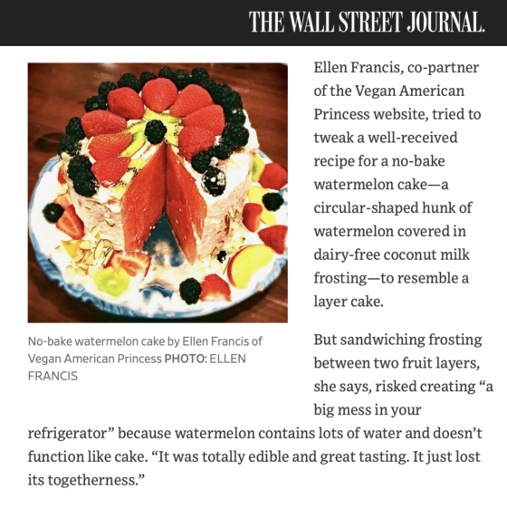 Wall Street Journal article featuring Vegan American Princess